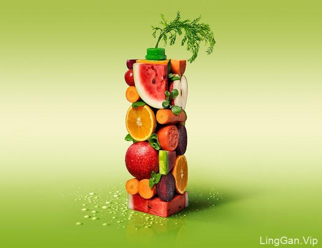 国外Green Day果汁饮料水果创意合成设计