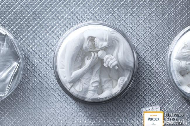 国外Voxpax喉咙失声药片创意广告设计