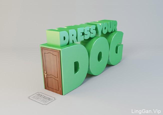 国外Pentagono防盗门立体字创意设计-字体设计
