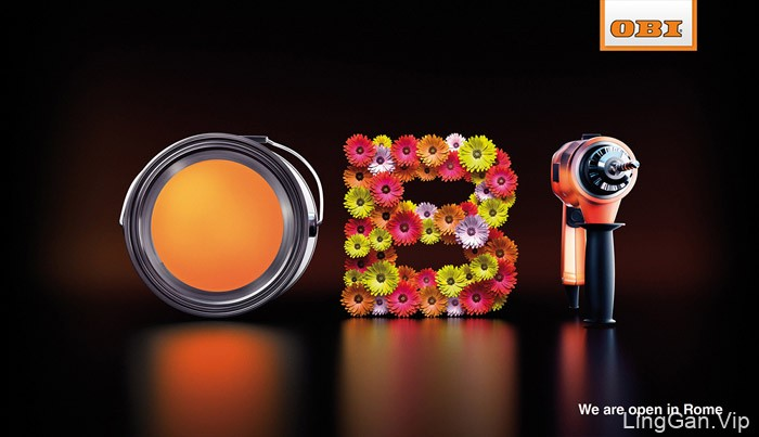 OBI家装与园艺品牌平面广告设计-OBI字体设计