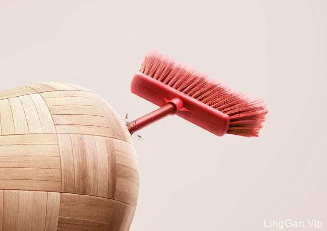 国外几种不同风格的Hude扫帚系列平面创意广告设计
