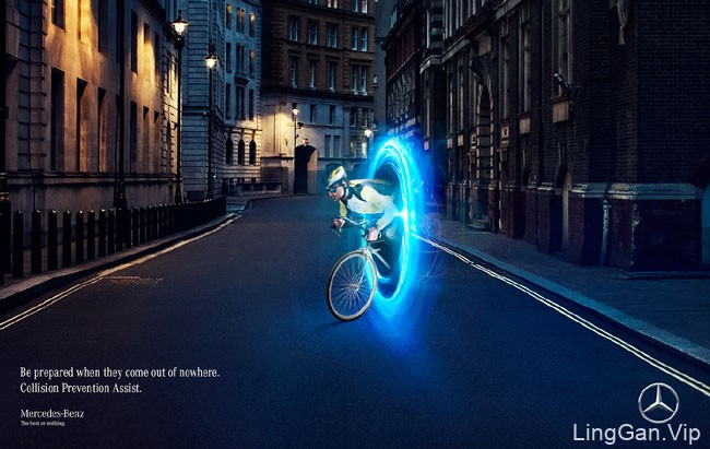 国外蓝色奔驰碰撞预防辅助系统创意广告设计