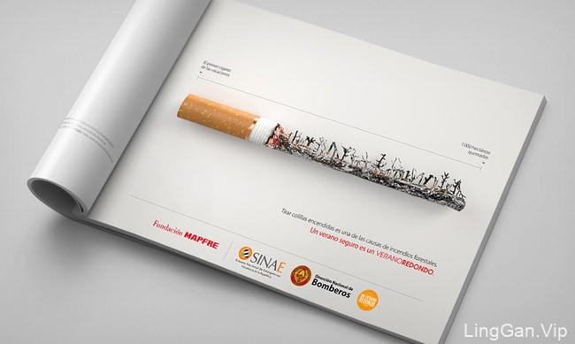 乌拉圭国家消防队预防森林火灾活动公益广告设计-香烟特效