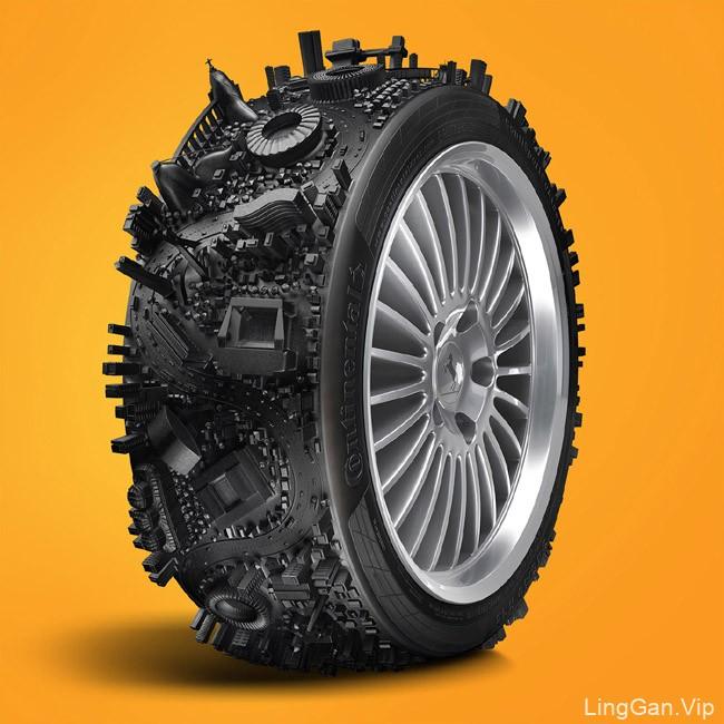 国外Continental轮胎创意广告设计欣赏