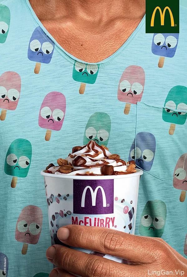 国外麦当劳麦旋风冰淇淋创意广告设计:伤心的小雪糕