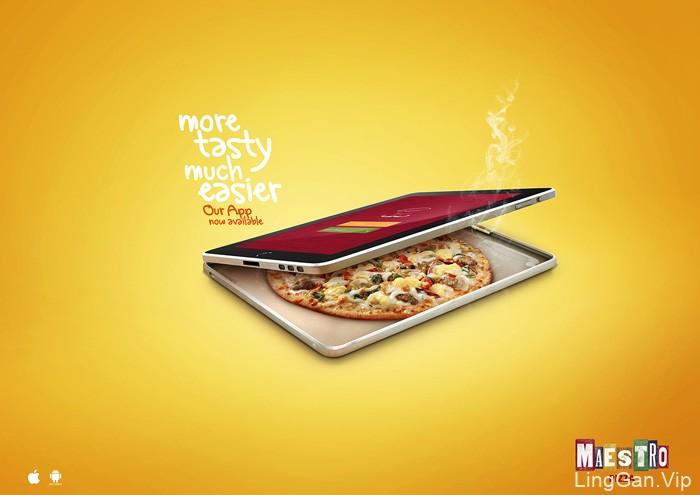 国外Maestro披萨APP设计创意宣传广告设计
