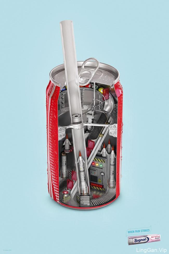 国外联合利华Signal抗敏牙膏创意广告设计