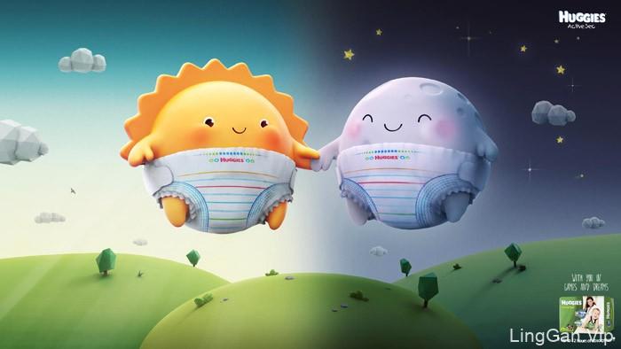 国外Huggies儿童纸尿裤系列插画广告设计欣赏