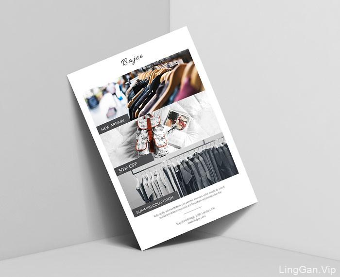 一组简约时尚的服装品牌宣传单设计