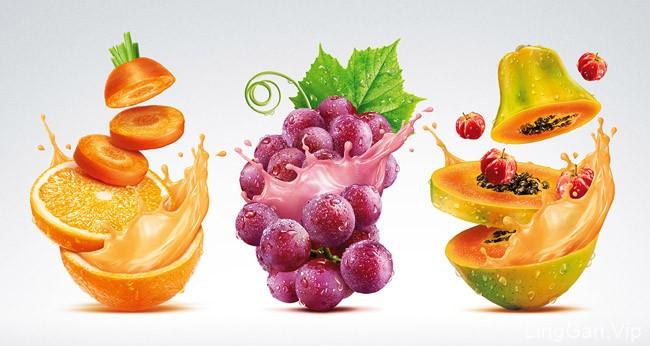 国外一组适合用于果汁包装的水果PS修图