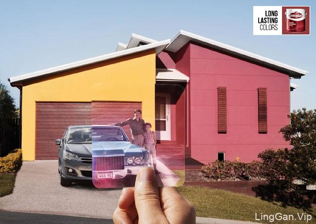 国外Sinteplast墙体涂料系列创意广告设计:持久不变色