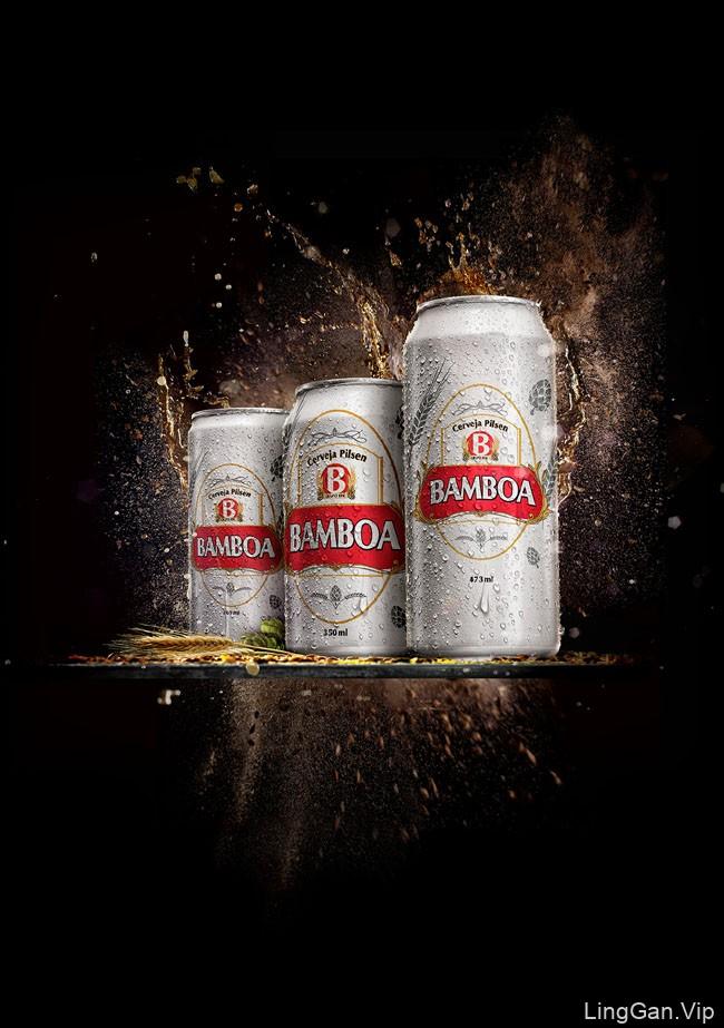 国外Bamboa啤酒爆炸喷溅效果视觉设计