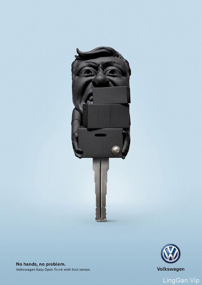 大众汽车脚传感器行李箱系统创意广告设计