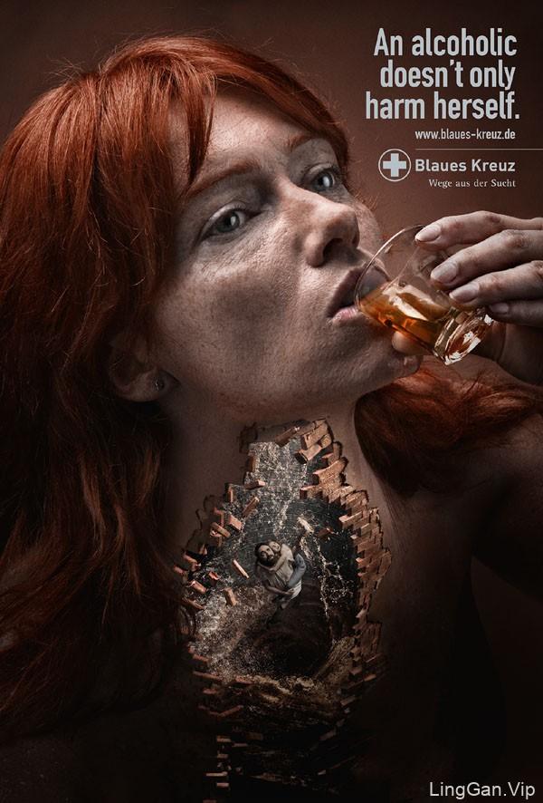 国外Blaues Kreuz反对酗酒宣传公益广告设计