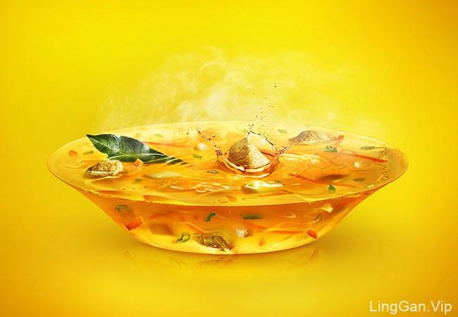 国外黄色风格的雀巢MIVINA系列唯美修图设计作品