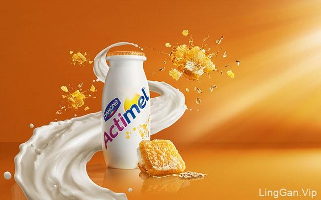 国外达能Actimel益生菌酸奶系列修图设计