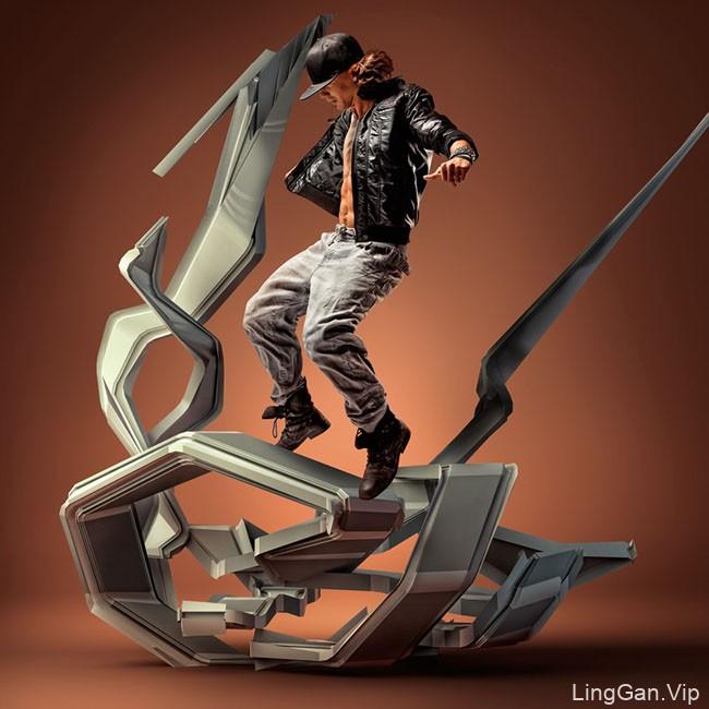 国外''MOTION IN AIR''空中的舞者系列数码艺术设计
