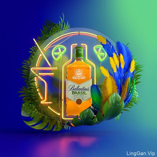 Ballantines BRASIL饮料动态视觉广告设计作品