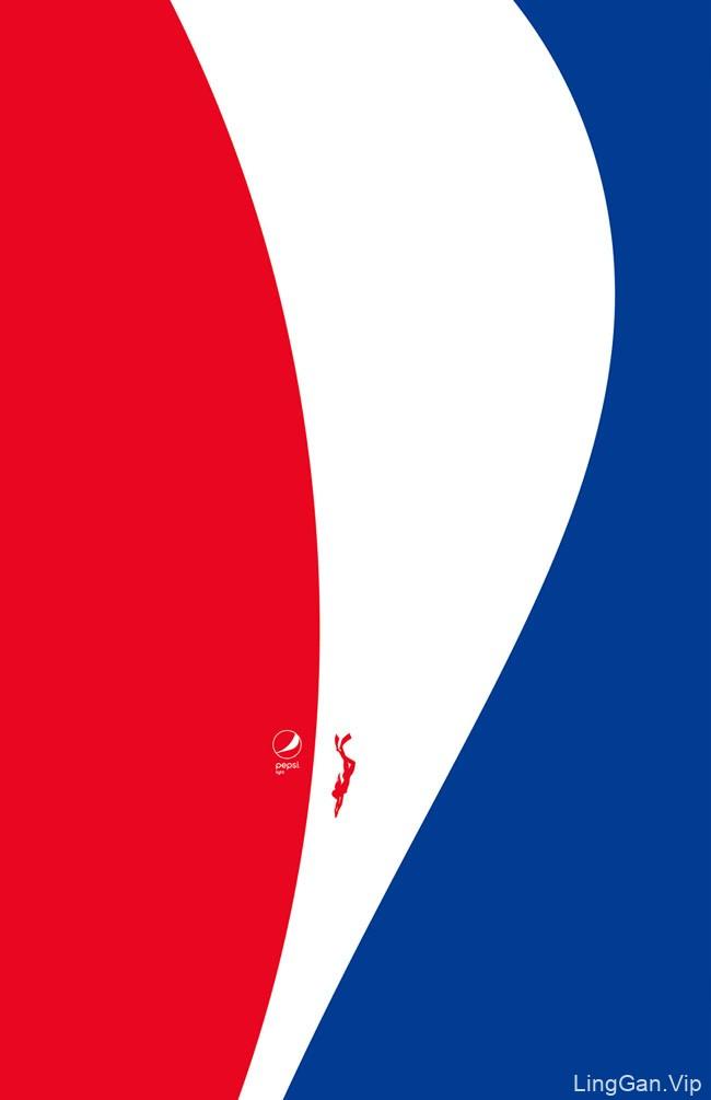 Pepsi Light百事轻怡运动主题极简平面广告