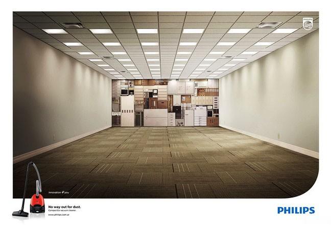 飞利浦吸尘器创意广告:灰尘无处可逃