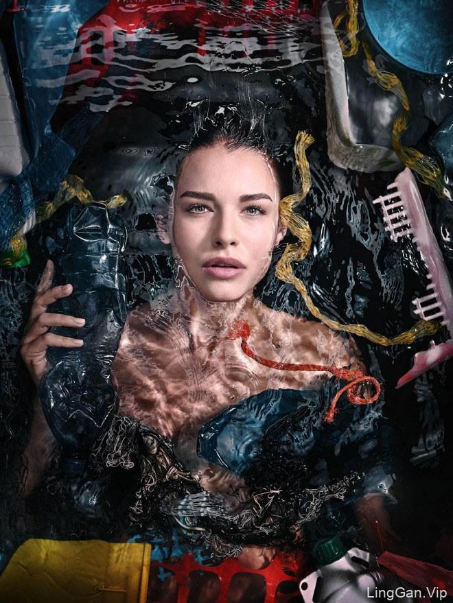 """""""塑料海洋""""主题环境保护宣传广告创意"""